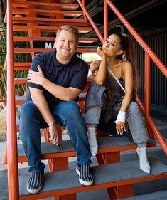 Ariana Grande and James Corden filming Carpool Karaoke. Photo: Terence Patrick/CBS CBS Broadcasting, Inc. Bae, Ariana Grande Fans, The Late Late Show, Big Sean, Light Of My Life, Dangerous Woman, She Song, Hugh Jackman, Celebs