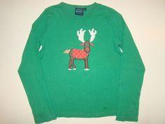 Mini Boden Green Christmas Holiday Reindeer Long Sleeve T-Shirt Girl 11-12 10-12 #MiniBoden #EverydayHoliday