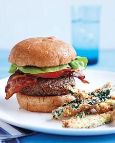 Feta-Stuffed BLT Burgers - Martha Stewart Recipes  Scrap the bun and this is primal.