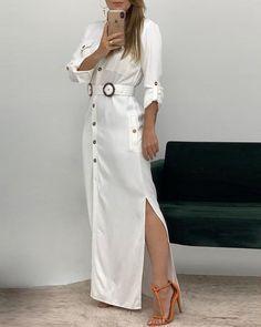 boutiquefeel / Buttoned Side Slit Shirt Maxi Dress - Me - Graduation Dress Maxi Shirt Dress, Long Sleeve Shirt Dress, Maxi Shirts, Denim Shirts, Dress Outfits, Fashion Dresses, Maxi Dresses, Dress Clothes, Dress Prom