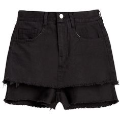 Black Frayed Denim Double Layer Shorts (135 AUD) ❤ liked on Polyvore featuring shorts, bottoms, frayed shorts, denim short shorts, layered shorts, frayed denim shorts and jean shorts
