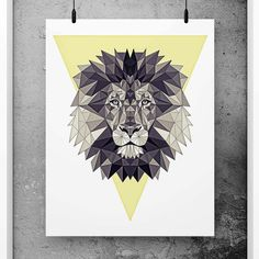 Lion Poster Geometric Art Yellow wall decor by PFposters on Etsy
