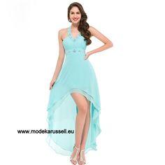 Neckholder Träger Vokuhila Abendkleid in Blau