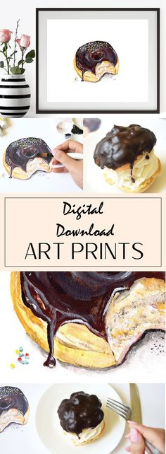 Chocolate Glazed Donut, Kitchen Prints, Glazed Donut, Acrylic Painting, Handmade Market