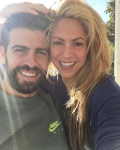 Gerard Pique and his wife Shakira pose together in photo shared on the Colombian's Instagram