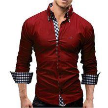95040c65a838f Camisa de Algodón Ocasional de los hombres Tamaño EE. UU. S ~ 3XL Solid