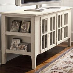Love this Media Console - amazing use of the space on the side.