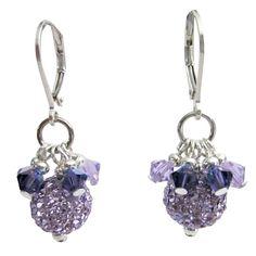 Violet Pave Ball w/ Swarovski Purple Crystals Fine Earrings Jewelry