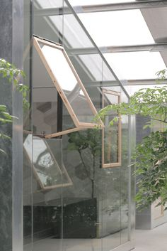Image 13 of 20 from gallery of Work-Studio in a Plant-House / O-office Architects. Photograph by Liky Photos Architecture Desk, Studios Architecture, Big Design, House Design, Metal Cladding, Concrete Stairs, Glass Facades, Studio Setup, House Built