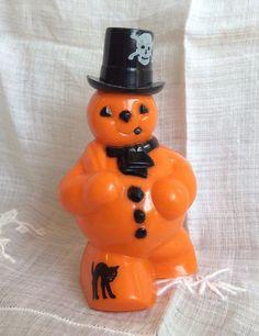 Vintage 1950 Plastic Rosen/Rosbro Halloween Snowman Candy Container Pumpkin Head