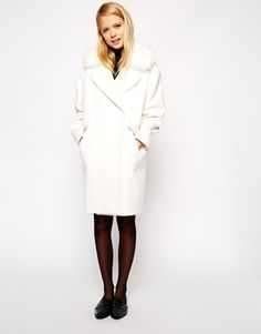 "{ASOS Coat in Cocoon Fit with Faux Fur Collar - Fall 2014 - take 10% off w/ code ""RMNOCT"", limited time only}"