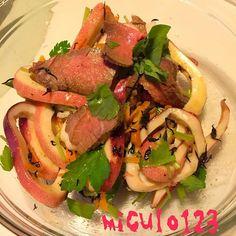 毎年ボジョレー出遅れちゃうんだなぁ(笑) - 66件のもぐもぐ - 人参とひじきのローストビーフサラダ by miculo123