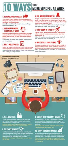[Infographic] 10 Ways to Be More Mindful at Work Stop stressing at work! Discover the top 10 ways to be more mindful at work and get better performance and mental health + [INFOGRAPHIC] Mindfulness At Work, Mindfulness Exercises, Mindfulness In The Workplace, Stress Management, Menu Detox, Work Stress, Managing Stress At Work, Stress Free, Stress Relief