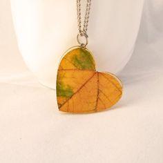 Heart Necklace  Yellow Autumn Leaf Pendant  by MetanoiaCharm