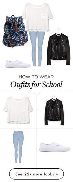 """""""school"""" by jessica-lock on Polyvore featuring Topshop, MANGO, Vans, Yves Saint Laurent and Aéropostale"""