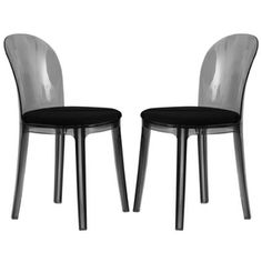 Easton Transparent Black Plastic Dining Chair (Set of 2) | Overstock.com Shopping - Great Deals on Dining Chairs