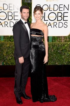Pin for Later: See Every Glamorous Look That Stole the Show at the 2015 Golden Globes Behati Prinsloo Adam Levine, in Dior Homme, and Behati Prinsloo, in KaufmanFranco, were almost too hot to handle on the red carpet.