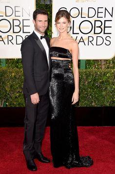 Pin for Later: Les Couples Ont Pris le Tapis Rouge D'assaut Lors des Golden Globes Adam Levine et Behati Prinsloo