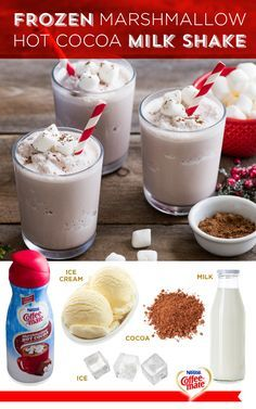 Five ingredients are all you need to make this delicious Frozen Marshmallow Hot Cocoa Milk Shake. Simply blend them all together and enjoy this decadent holiday treat. Coffee-mate Marshmallow Hot Cocoa flavor coffee creamer will tantalize your taste buds with the flavors of cocoa, steamed milk and marshmallows.