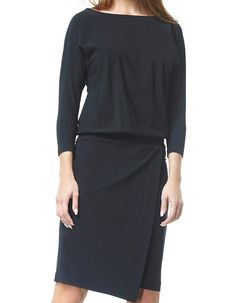 Françoise - zwart - Jersey lycra overslag jurk | LaDress