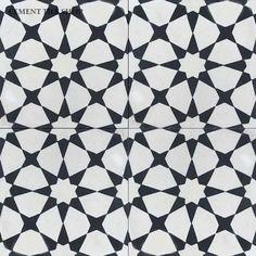 Cement Tile Shop - Encaustic Cement Tile Agadir White Notes: Pattern can be… Floor Patterns, Hall Bathroom, Upstairs Bathrooms, Bathroom Floor Tiles, House Flooring, Cement Tile, Cement Tile Shop, Bathroom Flooring, Bathroom Inspiration