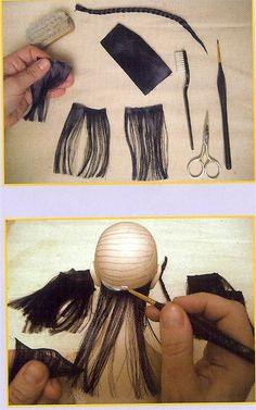 We make doll hair from the dissolved silk ribbon.