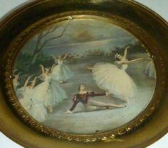 VTG Brass Ballerina Dancers Ballet Pointe England Plate Glass Round Wall Hanging