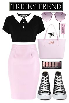 """""""Untitled #66"""" by valleyheart ❤ liked on Polyvore featuring Converse, Ted Baker, Obsessive Compulsive Cosmetics, Steve Madden and TrickyTrend"""