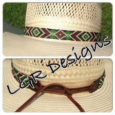 Custom beaded hatband by LGR Designs. Find me on Facebook! Bracelets, belts, headbands, dog collars, hatbands, and more.