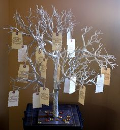 Wedding- DIY Wedding decorations. Silver Tree w/ Hanging Crystals ...