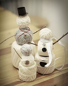 Snowman family out of yarn