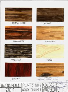 "Subject: Colors 2: Rendering  Wood Finishes  Watercolor on 8.5""x11"" Watercolor Paper"