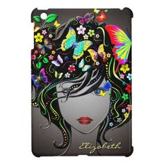 "Butterfly Girl 1&1A iPad Mini Cases Options. Please Choose Style. Select Customize and choose image option 1 or 1A. Moove image option to First to view. Delete unused option and white seperation background. Change / delete sample name ""ELIZABETH"".  Thank you for your purchase, Ron"