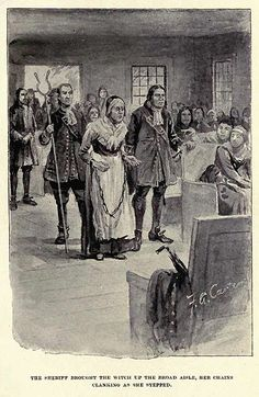 """""""The Sheriff brought the witch up the broad aisle, her chains clanking as she stepped."""" illustration of Rebecca Nurse by Freeland A. Carter published in """"The Witch of Salem, or Credulity Run Mad"""" by John R. Witch History, Us History, Family History, American History, American Literature, American Life, Salem Witch Trials Victims, Rebecca Nurse, Paris France"""
