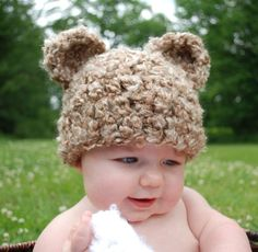 Brown baby bear hat for baby from Hookaholic Yarn Design Studio- Scranton.  I love this and think we may have to get one ASAP.