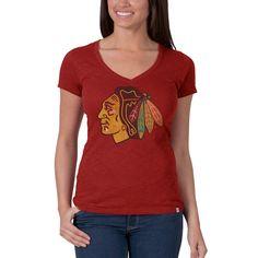 Chicago Blackhawks - Logo Scrum Premium Red Juniors V-Neck T-Shirt  7a1a71d55