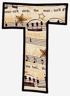 "ArtbyJean - Vintage Sheet Music Alphabet ""T"" Letter Symbols, Alphabet And Numbers, Vintage Wallpaper Patterns, Pattern Wallpaper, Vintage Sheet Music, Vintage Sheets, Music Letters, Make Your Own Card, Music Is My Escape"