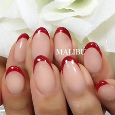 Best wedding nails french gel rings 48 ideas – Care – Skin care , beauty ideas and skin care tips White Tip Nails, Cute Pink Nails, Almond Nails French, French Nails, Pretty Toes, Pretty Nails, Mani Pedi, Manicure, Red Wedding Nails