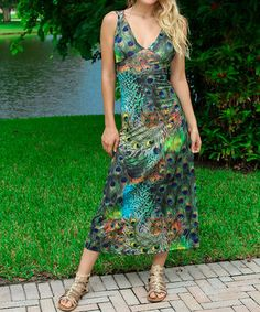 Look at this #zulilyfind! Turquoise Peacock Collage Cutout Maxi Dress by Modern Touch #zulilyfinds