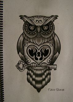 Owl Heart With Key Tattoo Design