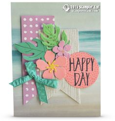 "CARD: Gorgeous Happy Day Flowers Card | Stampin Up Demonstrator - Tami White——— S U P P L I E S ———  • Botanical Blooms Photopolymer Stamp Set #140757 • Perfectly Wrapped Photopolymer Stamp Set	141960 • Crushed Curry 8-1/2"" X 11"" Cardstock #131199 • Whisper White 8-1/2X11 Card Stock #100730 • Sweet Sugarplum 8-1/2"" X 11"" Cardstock	141418 • Cucumber Crush 8-1/2"" X 11"" Cardstock #138335 • Emerald Envy 8-1/2"" X 11"" Cardstock	141415 • Flirty Flamingo 8-1/2"" X 11"" Cardstock	141416 • Serene Scener..."