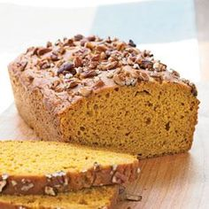 This top-rated pumpkin bread offers great flavor without the extra fat and calories of traditional pumpkin bread recipes. A sprinkling of chopped pecans on top adds great seasonal flavor as well.