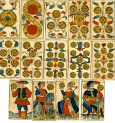 British Museum - Image gallery: print / playing-card Museum number 1903,1221.22.1-76 Incomplete tarot pack with 76 of 78 playing-cards. The missing cards are I and II of the atouts. Hand-coloured woodcut Backs printed in blue with a pattern of small arrows 18th Century