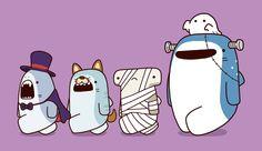Halloween Bff Drawings, Amazing Drawings, Cartoon Drawings, Cartoon Art, Cute Kawaii Animals, Funny Animals, Shark Drawing, Shark Art, Cute Shark
