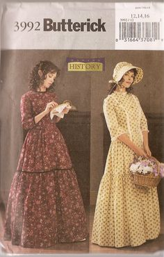 butterwick civil war patterns | Costume REINACTMENT Butterick 3992 History civil war Pattern Prarie ...