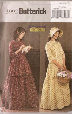 butterwick civil war patterns | Costume REINACTMENT Butterick 3992 History civil war Pattern Prarie ...