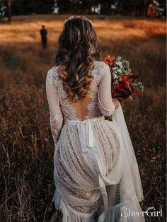 Polka Dot Boho Wedding Dresses Lace Bohemian Wedding Dress with Sleeves Polka Dot Boho Brautkleider Lace Bohemian Brautkleid mit Ärmeln Lace Wedding Dress With Sleeves, Dresses With Sleeves, Polka Dot Wedding Dress, Wedding Dress Not White, Elegant Wedding, Bobo Wedding Dress, Fall Wedding Dresses, Lace Sleeves, Trendy Wedding