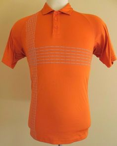 Under ARMOUR L Heat GEAR Polo SHIRT Mens ORANGE Sz SIZE Lg Polyester CRAB Logo** #UnderArmour #PoloRugby