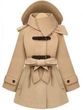i love  Beige Removable Hooded Long Sleeve Drawstring Coat 0.00