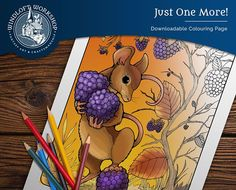 Cute Mouse Coloring Page, Woodland Scene, Autumn Leaves, Berries, Digital Download